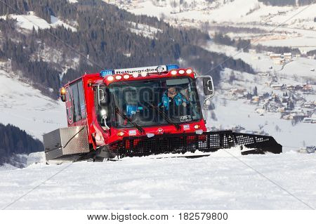 Snow Groomer Ski Piste Alps