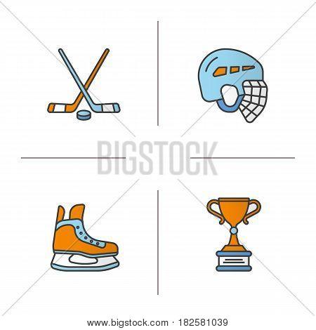Hockey equipment color icons set. Helmet, ice skate, sticks, winner's award. Isolated vector illustrations