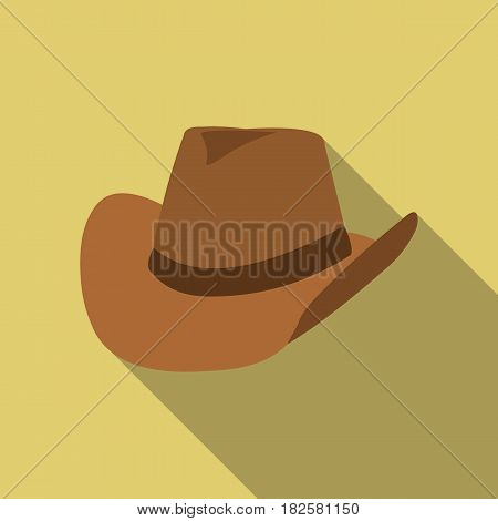 Cowboy hat icon flate. Singe western icon from the wild west flate.