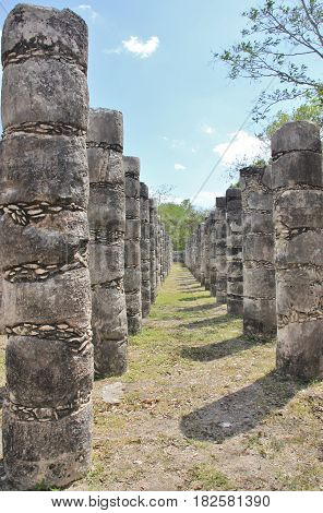 Rows of carved columns. Temple of the Warriors, Chichen Itza, Yucatan, Mexico