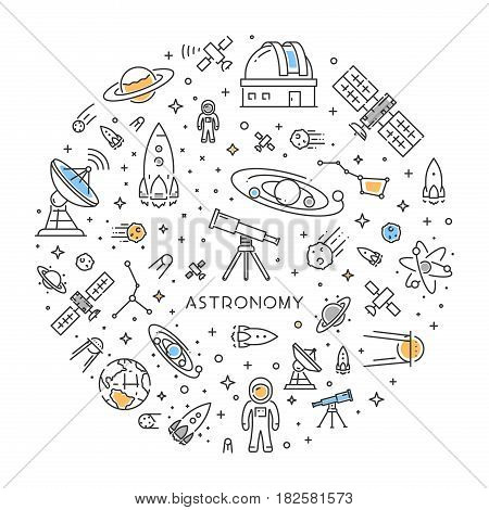 Round line web concept for astronomy. Modern linear banner for space science.