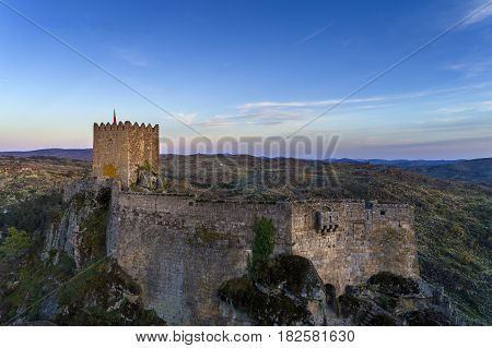 Aerial view of the Sortelha Castle in the historic village of Sortelha Portugal; Concept for travel in Portugal