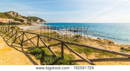 a Wooden fence in Capo Carbonara Sardinia