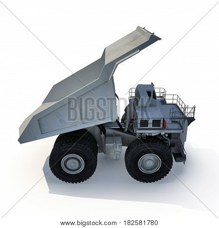 Large haul truck ready for big job in a mine. On white background. 3D illustration