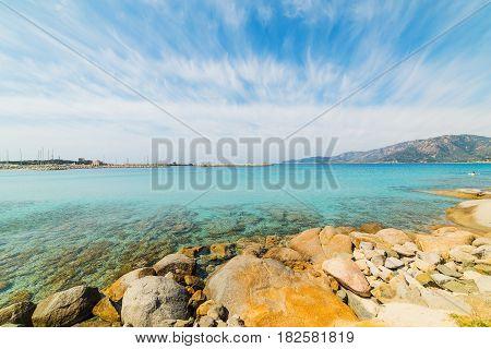 Cloudy sky over Spiaggia del Riso beach Sardinia