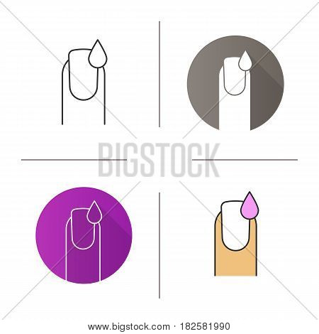 Nail polishing icon. Flat design, linear and color styles. Manicure. Woman's nail with polish drop. Isolated vector illustrations