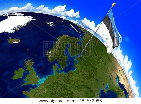 Estonia national flag marking the country location on world map. 3D rendering, parts of this image furnished by NASA