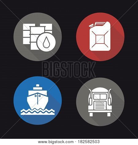 Oil transportation flat design long shadow icons set. Petrol barrels and gasoline jerrycan, cargo ship and transportation tank truck. Vector silhouette illustration