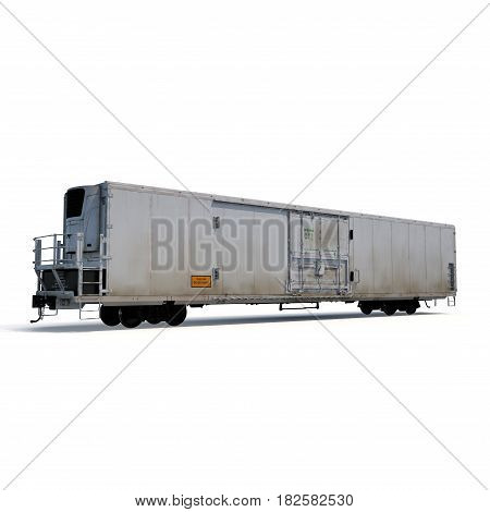 Old mechanically refrigerated wagon on white background. 3D illustration