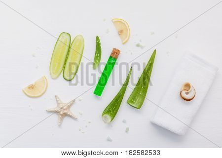 Homemade Skin Care With Natural Ingredients Aloe Vera, Lemon Slice, Cucumber, Sea Salt And Peppermin