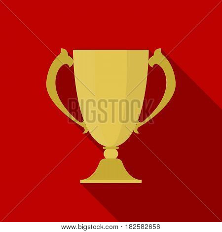 Trophy icon in flate style isolated on white background. Winner cup symbol vector illustration.