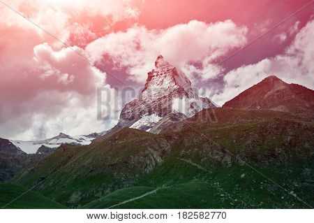 Snow capped mountains. Summit of Matterhorn mount. View of the Alpine mountains at the sunrise. Trek near Matterhorn mount.