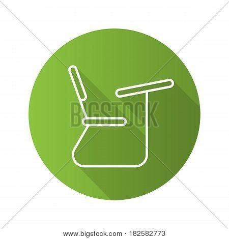 School desk flat linear long shadow icon. Student seat. Vector line symbol