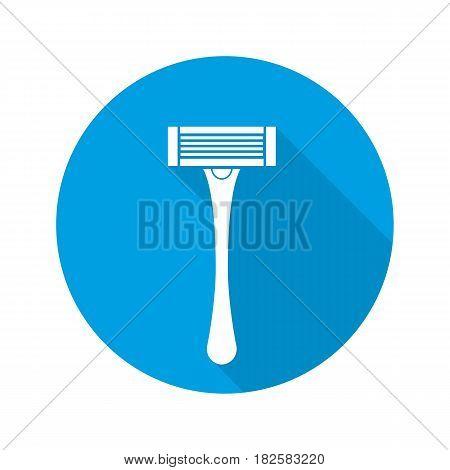 Shaver flat design long shadow icon. Shaving razor. Vector silhouette symbol