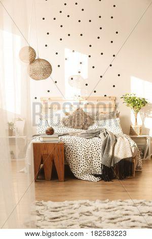 Bed In Trendy Bedroom