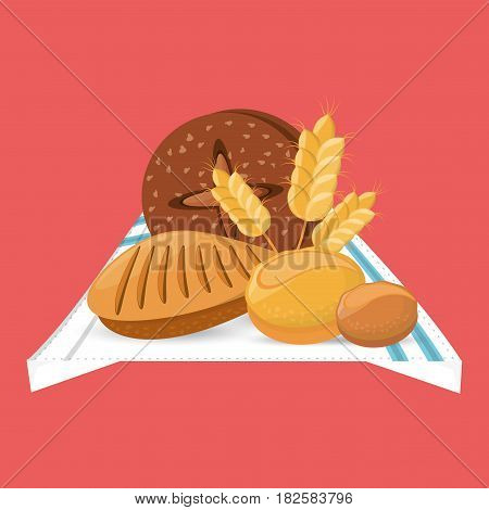 bread loafs wheat food with blanket vector illustration eps 10