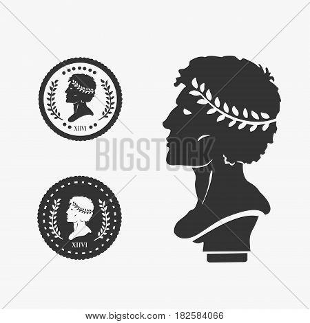 Greek Profile Coin Vector Illustration eps 8 file format