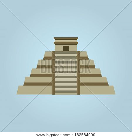 Mayan pyramid vector illustration isolated on white background .