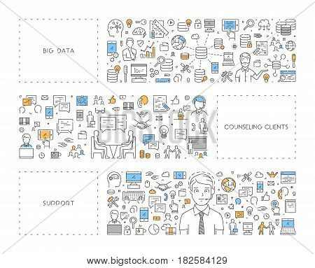 Vector line concept for big data. Linear banner for counseling clients. Modern background for support.