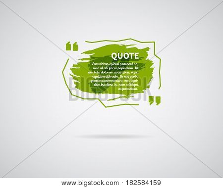 Watercolor, ink, splash Quote blank template. Quote bubble. Empty template. Circle business card template, paper sheet, information, text. Print multicolor design. Green Quote form. Template vector.