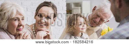 Women's Gossip During Family Dinner