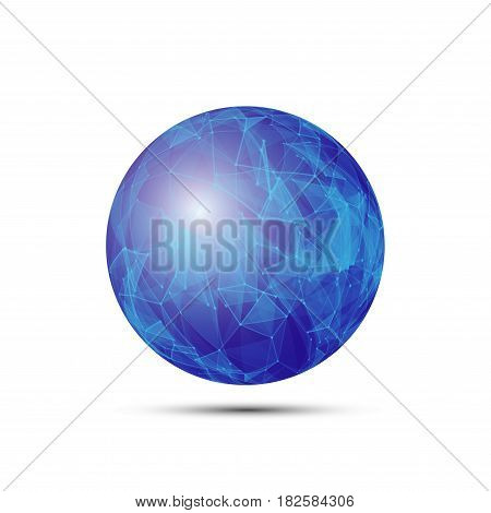 Vector dimensional wireframe low poly object, blue spherical shape withwhite grid.