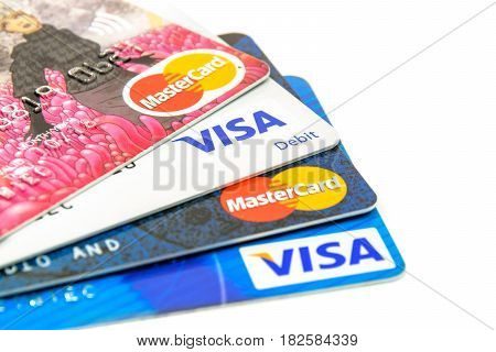 Krynica-Zdroj Poland - April 20 2017: Concept of credit cards choice of popular issuers - Visa and MasterCard