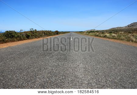 Closeup long asphalt road. National park Cape of Good Hope & Cape Point in Cape Town, South Africa.