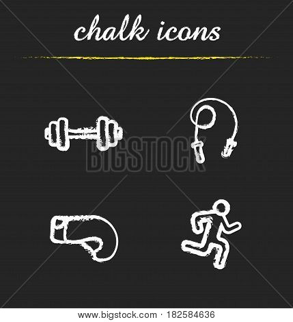 Sport chalk icons set. Gym dumbbell, skipping rope, boxing glove, running man. Isolated vector chalkboard illustrations