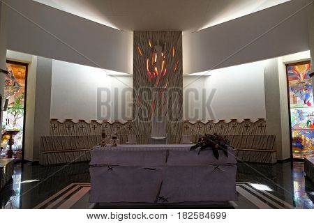 VAU I DEJES, ALBANIA - SEPTEMBER 30: Altar in the Mother Teresa cathedral in Vau i Dejes, Albania on September 30, 2016.