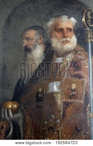 DUBROVNIK, CROATIA - DECEMBER 12: Tiziano Vecellio: St. Nicholas and St. Anthony, Altarpiece in Dubrovnik Cathedral, Croatia on December 12, 2011