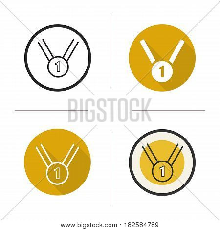 1st place medal icon. Flat design, linear and color styles. Gold medal. Isolated vector illustrations