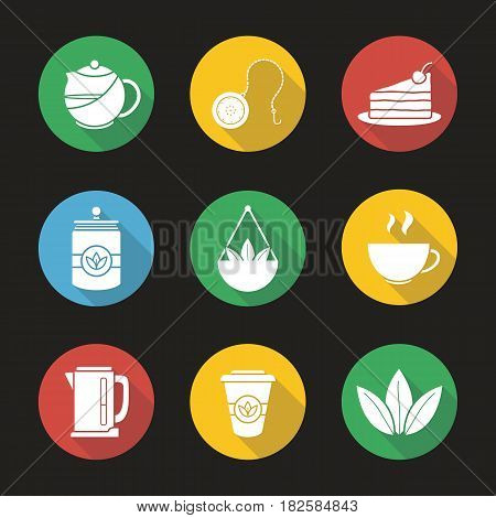 Tea flat design long shadow icons set. Teapot and ball infuser, chocolate cake on plate, tea container, steaming cup, electric kettle, takeaway paper cup. Vector silhouette illustration
