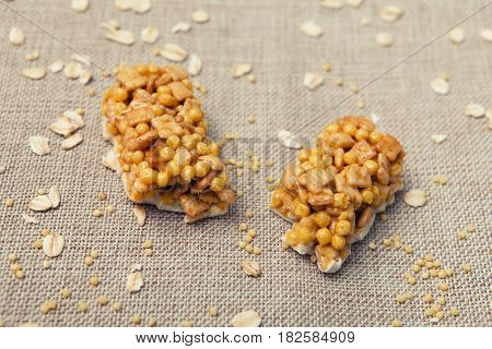 Cereal Bars Of Granola With Apples, Nuts And Honey. Fitness Bar, Cereal, Wallpaper, Background