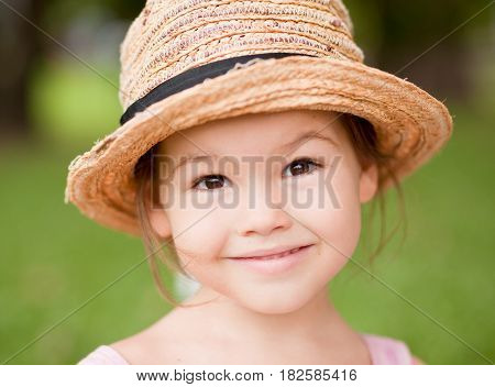 Portrait of cute asian girl, summer vacation