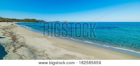 a sandy shore in Cea beach Sardinia
