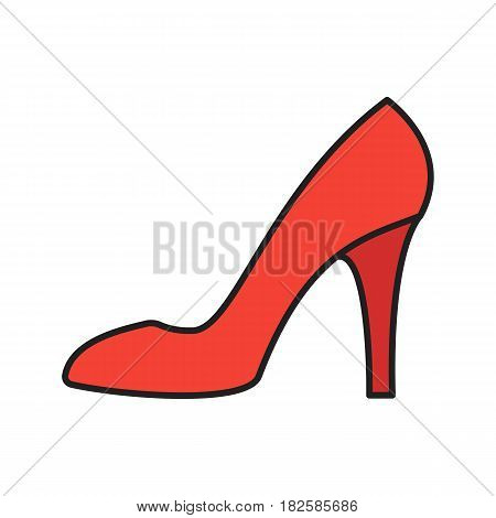 High heel shoe color icon. Woman's shoe. Isolated vector illustration