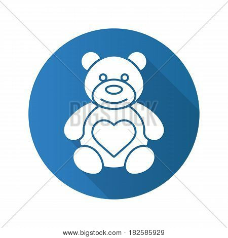 Teddy bear with heart shape. Flat design long shadow icon. Vector silhouette symbol