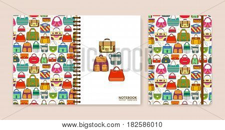 Cover design for notebooks or scrapbooks with hand bags. Vector illustration.