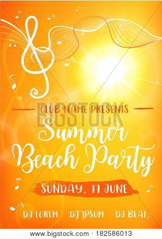 Summer Beach Party card. Decorative yellow background with sun, treble clef and music notes. Modern calligraphy text. Vector illustration for poster, flyer, banner and card