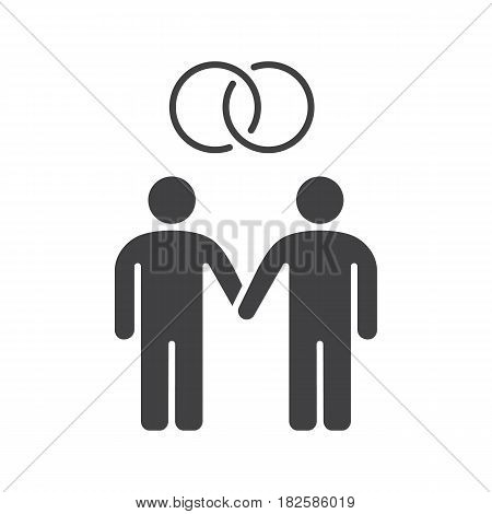 Gay marriage icon. Homosexual couple silhouette symbol. Two men holding hands. Negative space. Vector isolated illustration