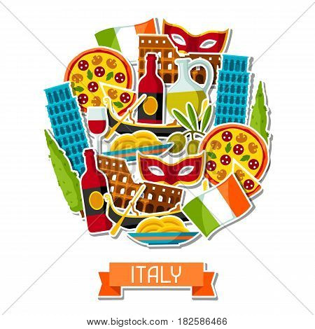 Italy background design. Italian sticker symbols and objects.