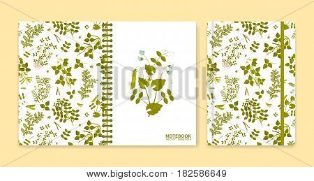 Cover design for notebooks or scrapbooks with legume plants. Vector illustration.