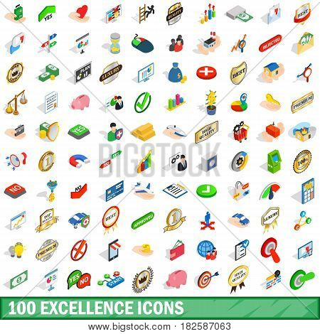 100 excellence icons set in isometric 3d style for any design vector illustration