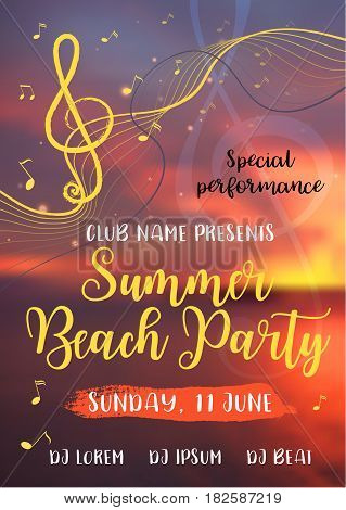 Summer vibes card. Decorative background with sea sunset, treble clef and music notes. Modern calligraphy text. Vector illustration for poster, flyer, banner and card