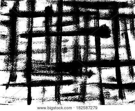 Background of black intersecting brush strokes. Grunge vector background