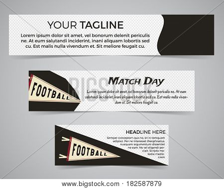 Set of American football banner template with soccer logo, label and badge. Stylish bright identity design. Best for sport magazines on web or print. Usa sports elements, pennant, typography. Vector.