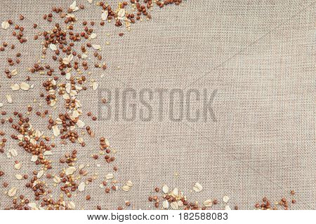 Background Wallpaper Food, Sprinkled Croup, Buckwheat, Oatmeal, Millet Porridge.
