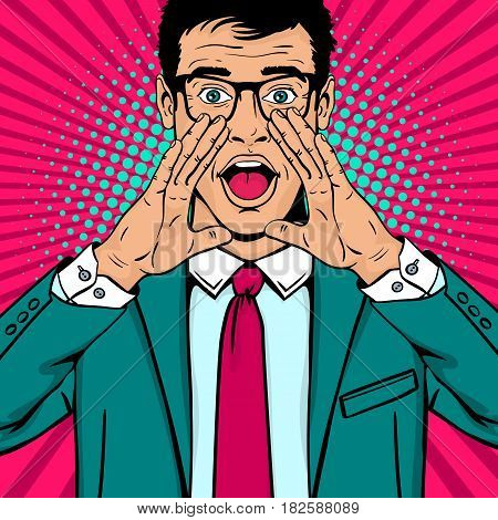 Wow pop art man. Young surprised man in glasses and suit with open mouth and rising hands screaming announcement. Vector background in comic retro pop art style. Party invitation poster.
