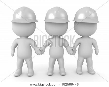 3D Illustration of three white helmets rescue workers holding hands. Image conveys unity.